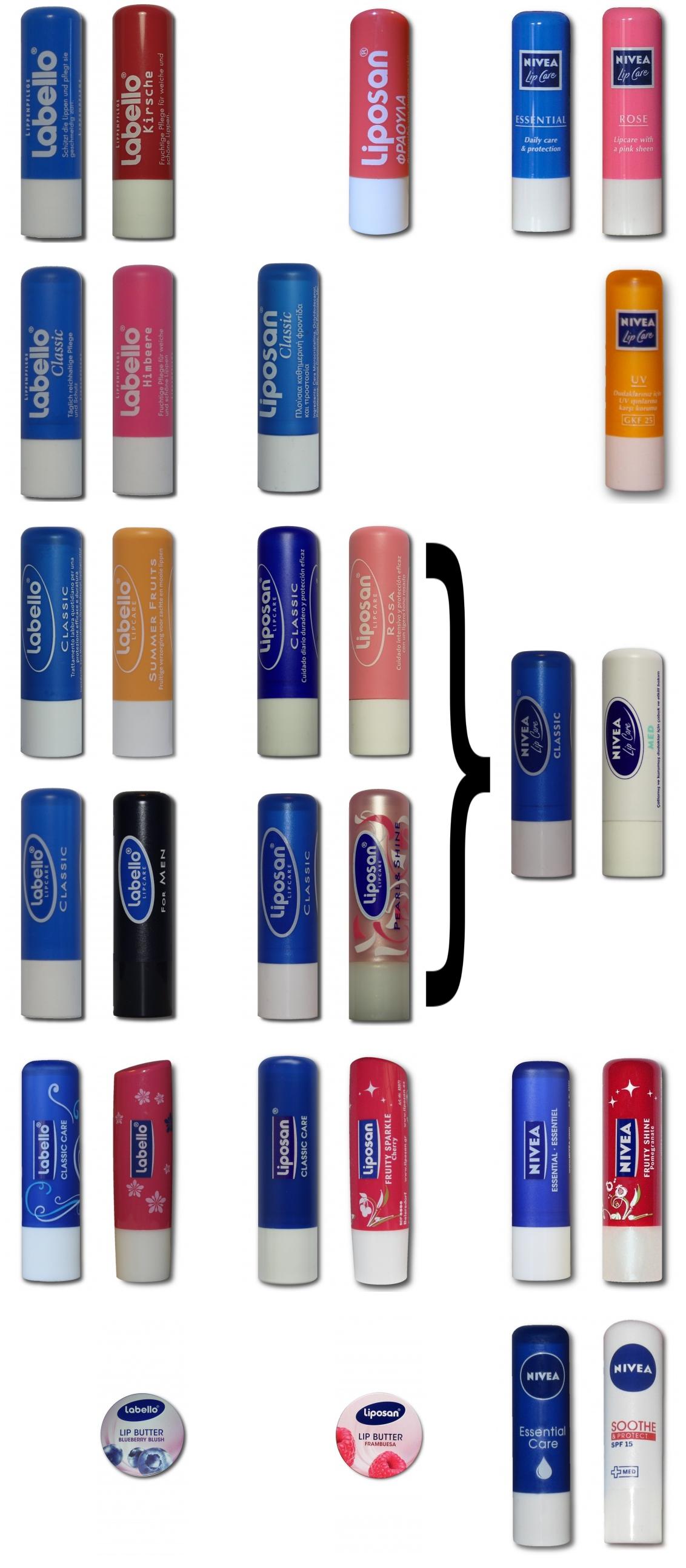 Vergleich der Labello Logos Liposan Logo Nivea Logo